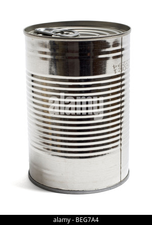 Steel food tin can on white background - Stock Photo