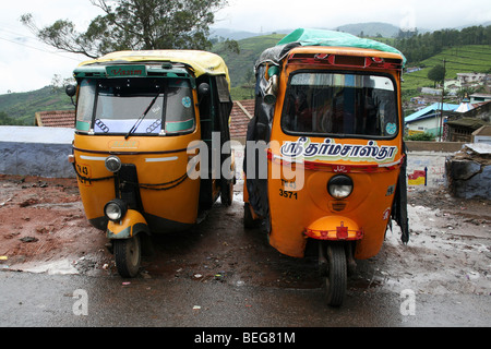 Two Tuc-tucs In A Kerala Street, India - Stock Photo