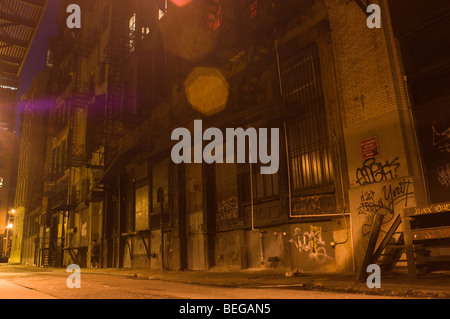 Cortlandt Alley at night in Lower Manhattan in New York - Stock Photo