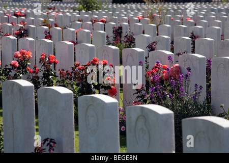 View over Tyne Cot Military Cemetery. First World War British cemetery with 11,856 white tombstones. - Stock Photo