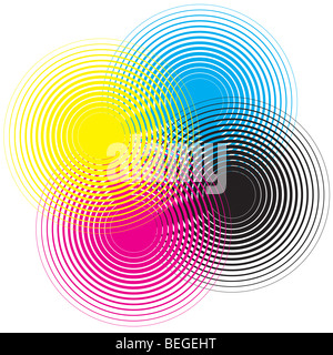Cmyk circle texture on a white background - Stock Photo