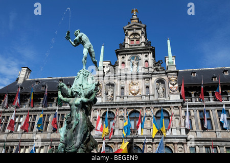 Brabo Fountain in front of the Town Hall in the Grote Markt. - Stock Photo