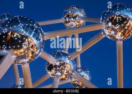 Detail of the Atomium in Heysel lit up at night. - Stock Photo