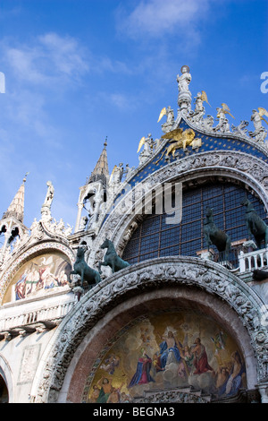 Close-up of the facade of St Mark's Basilica, Venice, Italy - Stock Photo