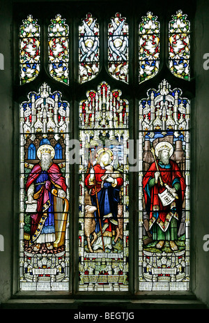 A stained glass window by A L Moore depicting King Solomon, Jesus Christ and King David, St Andrew's Church, Brinton, - Stock Photo