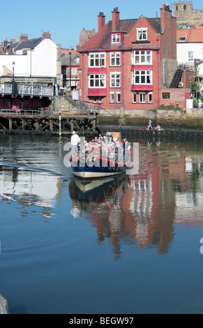 Vintage lifeboat The Mary Ann Hepworth taking visitors on day trips Whitby North Yorkshire England - Stock Photo