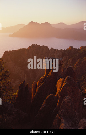 Les Calanches Volcanic Rock Formations Gulf de Porto Unesco World Heritage Site - Stock Photo
