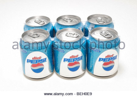 Six Pack of Diet Pepsi new half can style 8 ounces soda - Stock Photo