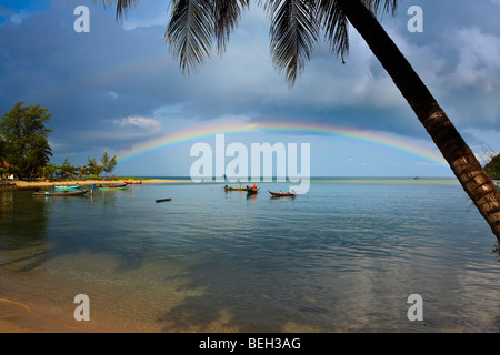 Rainbow after a storm on Ko phi phi island. Thailand. - Stock Photo