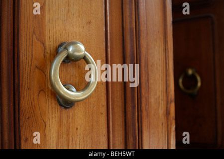 An ornate brass door knocker on a wooden door in Florence or Firenze in the Tuscany region of Italy - Stock Photo