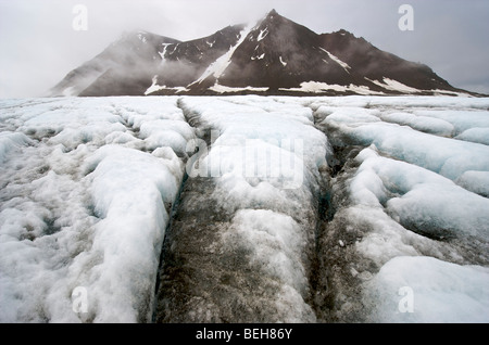 Spitsbergen, Svalbard, Hornsund, the Gashamna glacier - Stock Photo