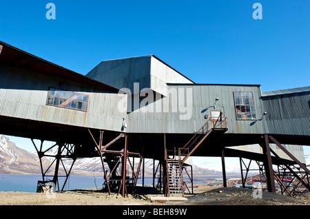 Spitsbergen, Svalbard, Longyearbyen, remains of the old coal mine - Stock Photo