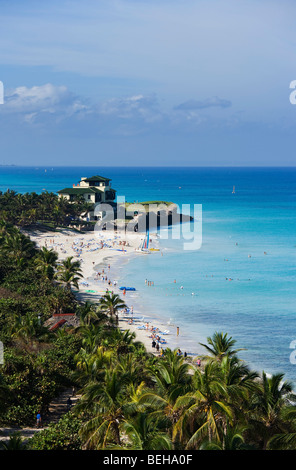 View along sandy beach to Villa Dupont, Varadero, Matanzas, Cuba, West Indies - Stock Photo