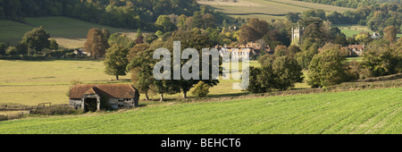 Panoramic view of Hambleden Village in the Thames Valley near Henley, Oxfordshire, Uk - Stock Photo