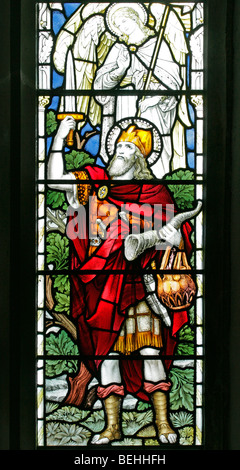 A stained glass window depicting Gideon holding a sword and ram's horn, All Saints Church, Warham, Norfolk - Stock Photo