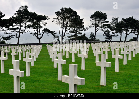Second World War Two graves at the Normandy American Cemetery and Memorial, Omaha Beach, Colleville-sur-Mer, Normandy, - Stock Photo