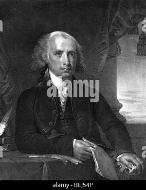 Portrait print circa 1828 of James Madison (1751 - 1836) - the fourth US President (1809 - 1817). - Stock Photo