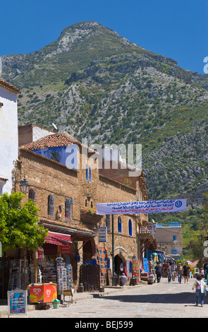 Medina walls and Rif mountains Chefchaouen Morocco - Stock Photo