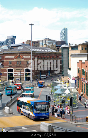 buses in liverpool city centre, merseyside, england, uk - Stock Photo