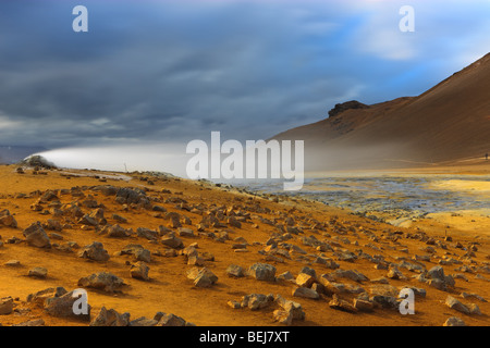 Solfatara fields at Namaskard, Iceland - Stock Photo