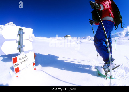 Snow shoes near Rosetta refuge, Paneveggio Pale di San Martino Park, Trento province, Trentino, Italy - Stock Photo
