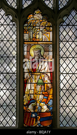A medieval stained glass window depicting King David playing his harp, St Mary Magdalene Church, Warham, Norfolk, - Stock Photo
