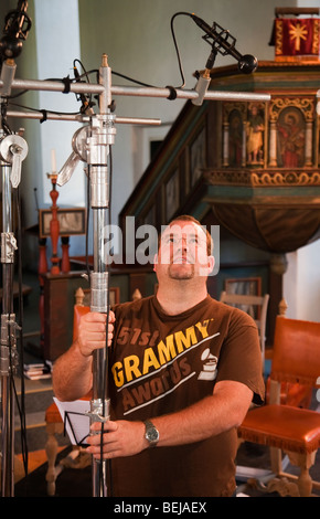 balancing engineeer 2L recording company sound engineer microphones recording session Norway Selbu church - Stock Photo
