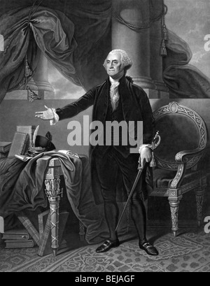 Portrait print circa 1844 of George Washington - the first President of the United States of America (1789 - 1797). - Stock Photo
