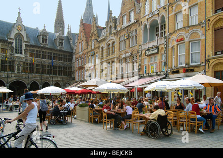 Tourists at the Market Square, Ypres, Belgium - Stock Photo