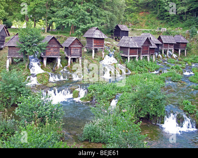 Bosnia and Herzegovina, district of Jajce town. Watermills on the Pliva river. - Stock Photo