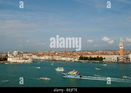 Venice Italy skyline Canale di San Marco St Marks Square. Piazza San Marco ( right of image) HOMER SYKES - Stock Photo