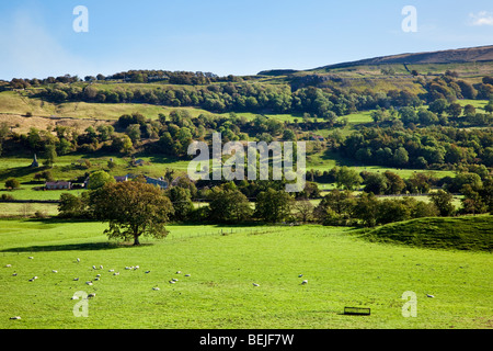 Yorkshire Dales scene in the National Park in autumn - Stock Photo