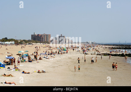 A view of the beach at Coney Island, Brooklyn, New York on a warm afternoon in early September. - Stock Photo
