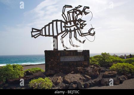 Sculpture of a crab designed by Cezar Manrique at Jameos del Agua, Lanzarote, Canary Islands, Spain - Stock Photo