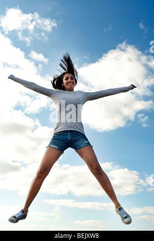 woman jumping - Stock Photo