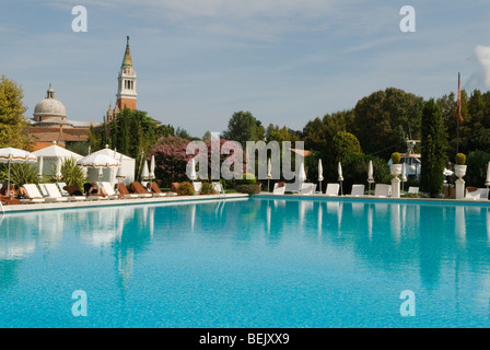 Venice Italy Cipriani Hotel swimming pool and church of San Giorgio Maggiore HOMER SYKES - Stock Photo