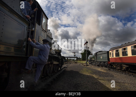 Two Great Western Railway Manor Class steam locomotives on the preserved Severn Valley Railway at Kidderminster, - Stock Photo