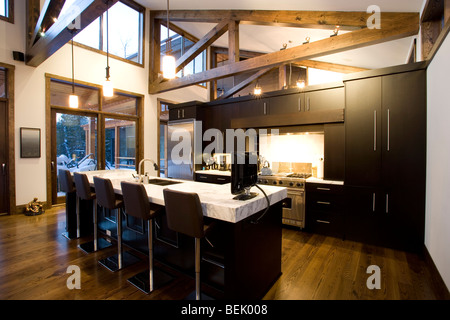 modern kitchen with black cabinets - Stock Photo