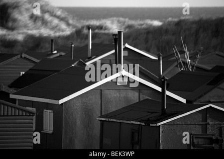 Fisherman's huts at Redcar near Middlesbrough, Teesside, North Yorkshire uk - Stock Photo