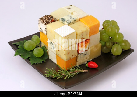 Cheese cube Recipe available - Stock Photo