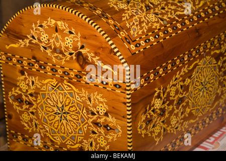 Inlaid wooden chest Essaouira Morocco - Stock Photo