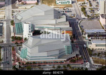 aerial above Adrienne Arsht center for the Performing Arts Biscayne Boulevard downtown Miami Florida USA - Stock Photo