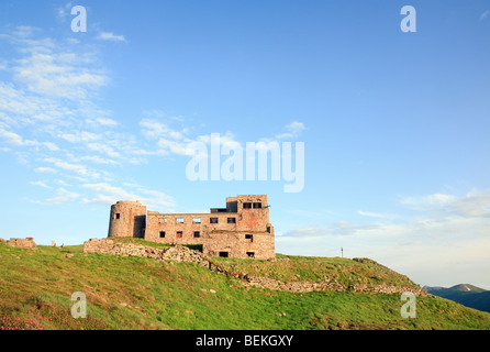 Summer mountain view with fortress -observatory ruins on Pip Ivan mountain top (Chornogora Ridge, Carpathian, Ukraine) - Stock Photo