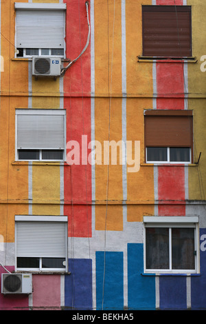 Colourful apartment block in Tirana, Albania - Stock Photo