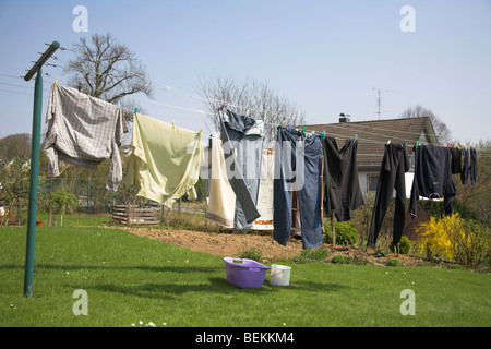 Outdoor washing line - Stock Photo