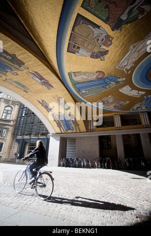 Mural under walkway next to the Royal Theatre (Det Kongelige Teater), Copenhagen, Denmark - Stock Photo