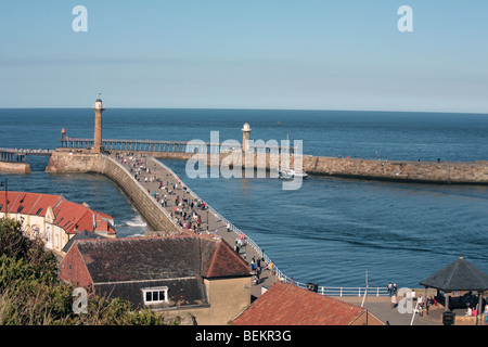 Whitby East and West  Pier Lights or Breakwater Lights, harbour entrance Whitby North Yorkshire England - Stock Photo