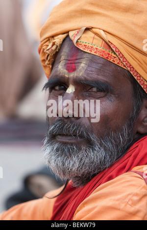 Pashupatinath, Nepal. Sadhu (Holy Man) at Nepal's Holiest Hindu Temple, Shiva Trident on Forehead. - Stock Photo