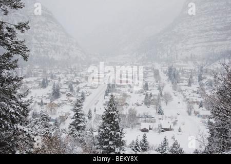 Ouray in winter, Ouray, Rocky Mountains, Colorado, USA - Stock Photo