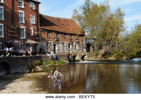Sunny day view of the Old Mill Hotel, Salisbury, Wiltshire, England, UK - Stock Photo